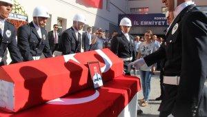 Şehit polis memuru için Konya Emniyet Müdürlüğünde tören düzenlendi