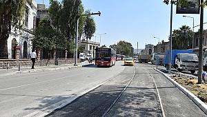 Alsancak Garı önünde tramvay çalışması bitti