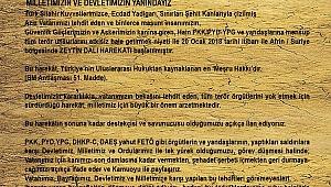 Medya Platform'dan Zeytin Dalı Operasyonu İle İlgili Basın Açıklaması