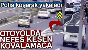 Polis TEM'deki aracı koşarak yakaladı