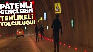 Dolmabahçe Tüneli'nde patenli gençlerin tehlikeli yolculuğu kamerada