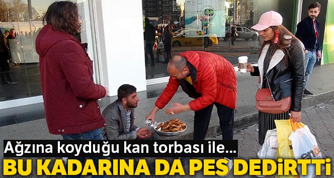 Taksim Meydanı'nda hayrete düşüren dilencilik yöntemi