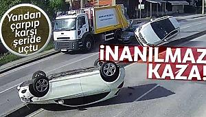 Otomobile yandan çarpıp karşı şeride uçtu: 2 yaralı