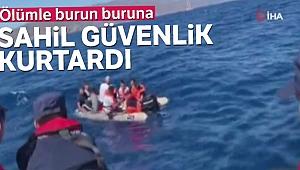 Ölümle burun buruna gelen kaçak göçmenleri sahil güvenlik kurtardı