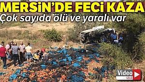 Mersin'de tarım işçilerini taşıyan kamyon devrildi, çok sayıda yaralı var