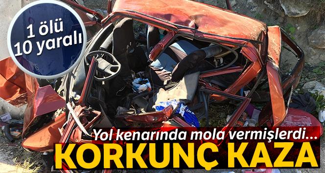 Yol kenarında mola veren aileye otomobil çarptı: 1 ölü, 10 yaralı