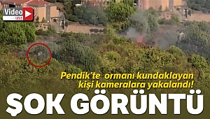 Aydos Ormanı'nda yangının çıkış anı kamerada