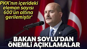 Bakan Soylu: 'PKK'nın içerideki eleman sayısı 600'ün altına gerilemiştir'