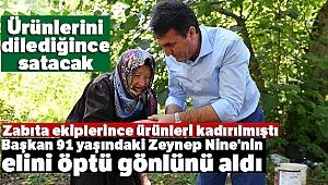 Başkan 91 yaşındaki Zeynep Nine'nin elini öptü gönlünü aldı