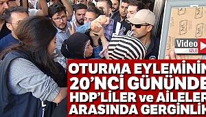 HDP'liler ile parti binası önünde eylem yapan aileler arasında gerginlik