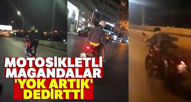 İstanbul'da motosikletli magandaların 'yok artık' dedirttiği anlar kamerada