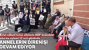 Evlat nöbeti tutan ailelerin HDP önündeki oturma eylemi 33'ncü gününde