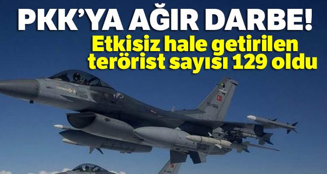 Pençe Harekatlarında etkisiz hale getirilen toplam terörist sayısı 129 oldu