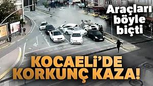 Kocaeli'de 1'i ağır 3 kişinin yaralandığı kaza saniye saniye kameralara yansıdı