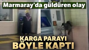 Marmaray'da kartına yükleme yapan kadının parasını çalan karga kamerada