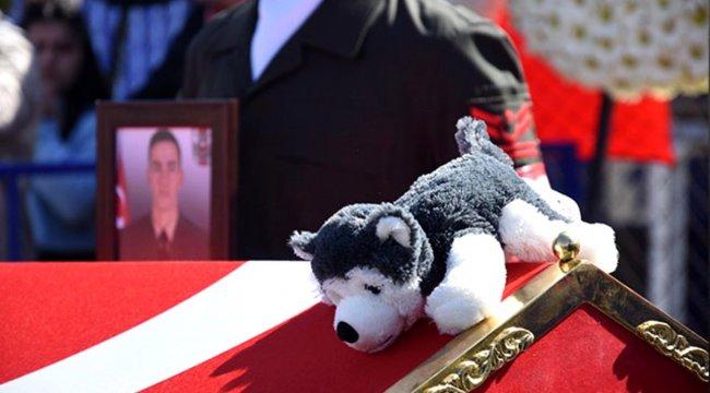 İdlib şehidinin tabutuna bırakılan Bozkurt isimli oyuncak köpek duygulandırdı