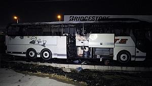 İzmir Otogarı'nda park halindeki otobüs yandı