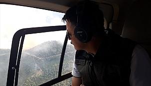Pakdemirli, İzmir'deki orman yangınını havadan inceledi