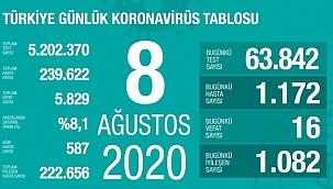 Türkiye'de Kovid-19'dan 222 bin 656 kişi iyileşti