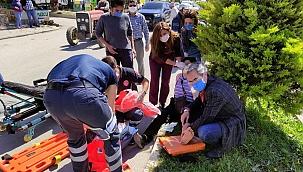 Karşıdan karşıya geçen yaşlı kadına motosiklet çarptı