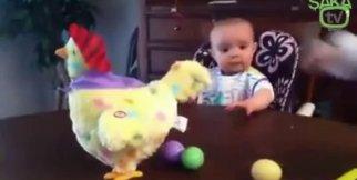Yumurtlayan oyuncak tavuğu görünce şaşıran bebek