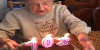 102 yaşında teyze mum üflerken bakın ne oldu?
